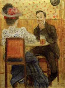Picture no: 30006530 A.Macke, Paar am Biertisch, 1907 Created by: Macke, August