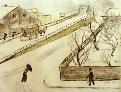 Picture no: 30006558 A.Macke, Straßenecke im Schnee, 1911 Created by: Macke, August