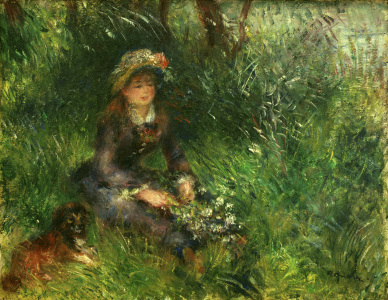 Picture no: 30006854 Renoir / Aline Charigot with dog / 1880 Created by: Renoir, Pierre-Auguste