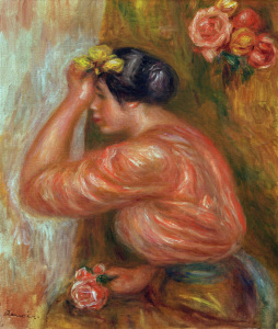 Picture no: 30007102 A.Renoir, Girl with Roses by Mirror Created by: Renoir, Pierre-Auguste