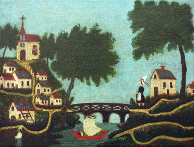 Picture no: 30007280 H.Rousseau / Landcape with bridge Created by: Rousseau, Henri Julien Felix
