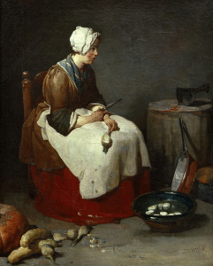 Picture no: 30007431 J.B.S.Chardin / Woman paring turnips Created by: Chardin, Jean Siméon