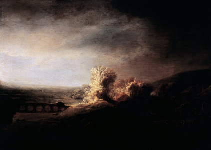Picture no: 30007659 Rembrandt / Landscape with arch bridge. Created by: Rembrandt Harmenszoon van Rijn