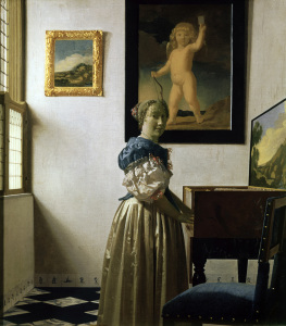 Picture no: 30007925 Vermeer/Woman standing a.virginal/c.1672 Created by: Jan Vermeer van Delft