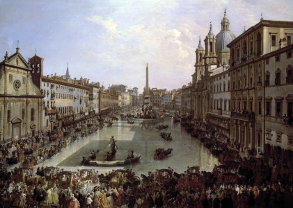 Picture no: 30008359 Rome / Piazza Navona under Water / 1756 Created by: Pannini, Giovanni Paolo