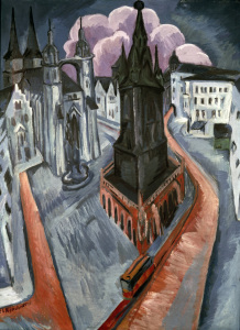 Picture no: 30008413 Kirchner / The Red Tower in Halle / 1915 Created by: Ernst Ludwig Kirchner