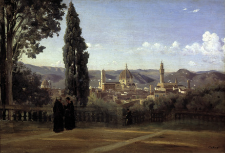 Picture no: 30008865 Florence from Boboli Gardens / Painting Created by: Corot, Jean Baptiste Camille