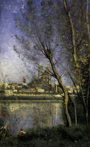 Picture no: 30008889 C.Corot, Cathedral in Mantes / painting Created by: Corot, Jean Baptiste Camille