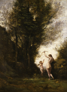 Picture no: 30008891 C. Corot / Nymph playing with a Cherub Created by: Corot, Jean Baptiste Camille