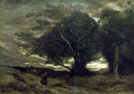 Picture no: 30008895 Camille Corot / Gust of Wind / Painting Created by: Corot, Jean Baptiste Camille