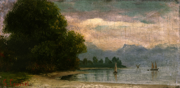 Picture no: 30009025 Courbet / Landscape at Lake Geneva Created by: Courbet, Gustave