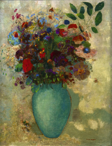 Picture no: 30009682 Redon / Large Turquoise Vase / Painting Created by: Redon, Odilon