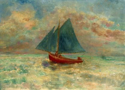 Picture no: 30009694 O.Redon, Red Boat with Blue Sail / Paint Created by: Redon, Odilon