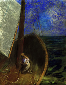 Picture no: 30009710 O.Redon, Holy Woman in a Barque / Pastel Created by: Redon, Odilon
