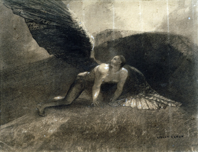 Picture no: 30009736 O.Redon, The Fallen Angel / Drawing / 18 Created by: Redon, Odilon