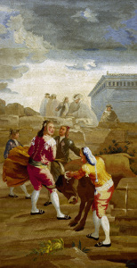 Picture no: 30009939 Goya, Fightimg w.Young Bull / Tapestry Created by: Goya, Francisco de