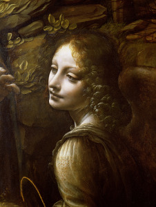 Picture no: 31000030 Detail of the Angel, from The Virgin of the Rocks , c.1508 Created by: da Vinci, Leonardo