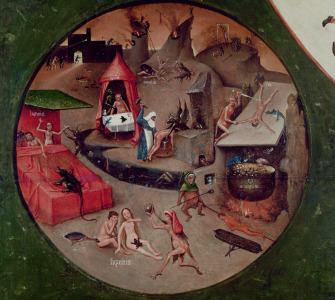 Picture no: 31000079 Tabletop of the Seven Deadly Sins and the Four Last Things, detail of Hell, c.14 Created by: Bosch, Hieronymus
