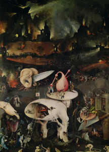 Picture no: 31000089 The Garden of Earthly Delights, Hell, right wing of triptych, c.1500 Created by: Bosch, Hieronymus