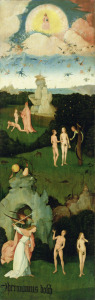 Picture no: 31000093 The Haywain: left wing of the triptych depicting the Garden of Eden, c.1500 Created by: Bosch, Hieronymus