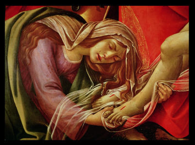Picture no: 31000106 The Lamentation of Christ, detail of Mary Magdalene and the Feet of Christ, c.14 Created by: Botticelli, Sandro