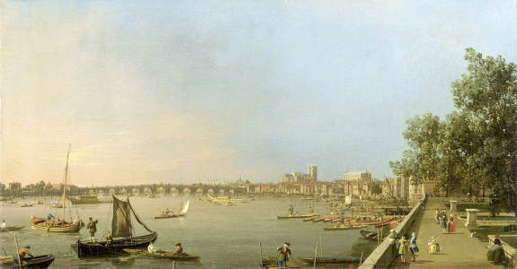Picture no: 31000170 The Thames from the Terrace of Somerset House, looking upstream Towards Westmins Created by: Canal, Giovanni Antonio & Bellotto, Bernardo