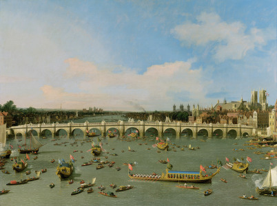 Picture no: 31000174 Westminster Bridge, London, With the Lord Mayor's Procession on the Thames Created by: Canal, Giovanni Antonio & Bellotto, Bernardo