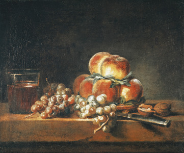 Picture no: 31000186 Still Life of Peaches, Nuts, Grapes and a Glass of Wine, 1758 Created by: Chardin, Jean Siméon