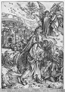 Picture no: 31000375 Scene from the Apocalypse, The angel holding the keys of the abyss and a big cha Created by: Dürer, Albrecht