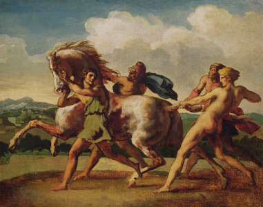 Picture no: 31000504 Slaves stopping a horse, study for 'The Race of the Barbarian Horses', 1817 Created by: Géricault, Théodore