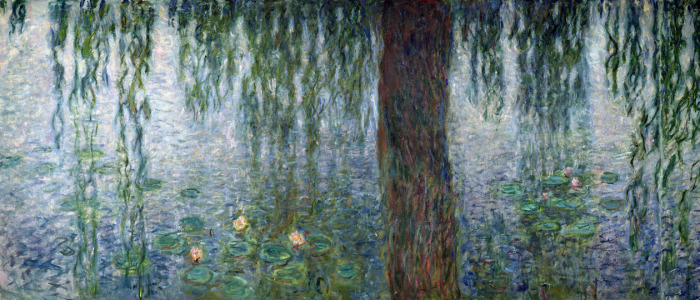 Picture no: 31000919 Waterlilies: Morning with Weeping Willows, detail of the left section, 1915-26 Created by: Monet, Claude