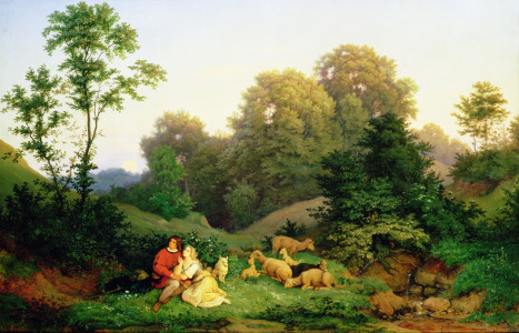 Picture no: 31001161 Shepherd and Shepherdess in a German landscape, 1844 Created by: Richter, Ludwig