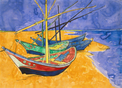 Picture no: 31001333 Fishing Boats on the Beach at Saintes-Maries-de-la-Mer Created by: van Gogh, Vincent