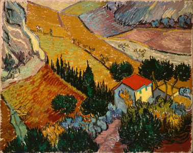 Picture no: 31001356 Landscape with House and Ploughman, 1889 Created by: van Gogh, Vincent