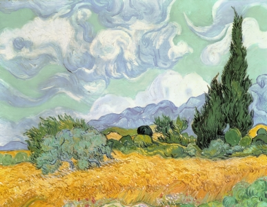Picture no: 31001371 Wheatfield with Cypresses, 1889 Created by: van Gogh, Vincent