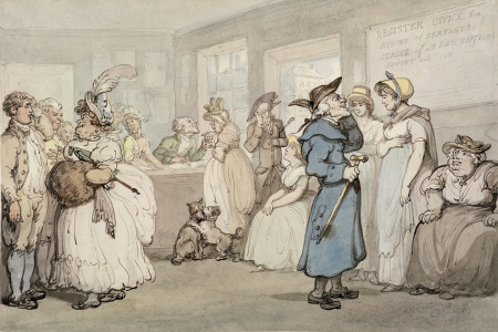 Picture no: 31001499 Register Office for the Hiring of Servants, c.1805 Created by: Rowlandson, Thomas