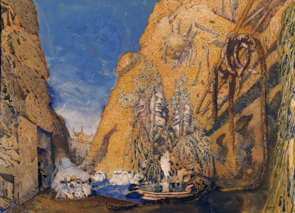 Picture no: 31001550 Stage set for the 'Dieu Bleu', by Reynaldo Hahn 1911 Created by: Bakst, Leon