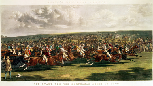 Picture no: 31001582 The Start of the Memorable Derby of 1844, engraved by Charles Hunt Created by: Herring Snr, John Frederick