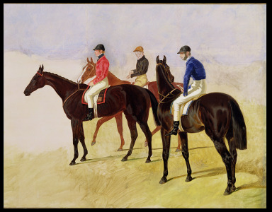 Picture no: 31001587 Study of Three Steeplechase Cracks: Allen McDonough on Brunette, Tom Oliver on D Created by: Herring Snr, John Frederick