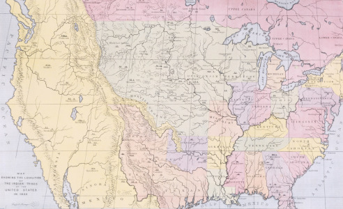 Picture no: 31001710 Map showing the localities of the Indian tribes of the US in 1833, illustration  Created by: Catlin, George