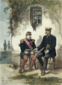 Picture no: 31001871 Meeting between Otto von Bismarck and Napoleon III at Donchery, 2nd September 18 Created by: Anonyme Künstler