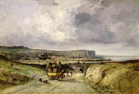 Picture no: 31002070 Arrival of a Stagecoach at Treport, 1878 Created by: Noel, Jules Achille