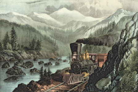 Picture no: 31002451 The Route to California. Truckee River, Sierra Nevada. Central Pacific railway,  Created by: Currier, Nathaniel and Ives, J.M.