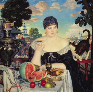 Picture no: 31002605 The Merchant's Wife at Tea, 1918 Created by: Kustodiev, Boris Mihajlovic