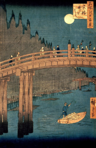 Picture no: 31002620 Kyoto bridge by moonlight, from the series '100 Views of Famous Place in Edo', p Created by: Hiroshige, Ando