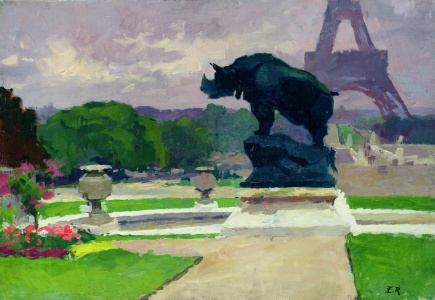 Picture no: 31002679 The Trocadero Gardens and the Rhinoceros by Jacquemart Created by: Renoux, Jules Ernest