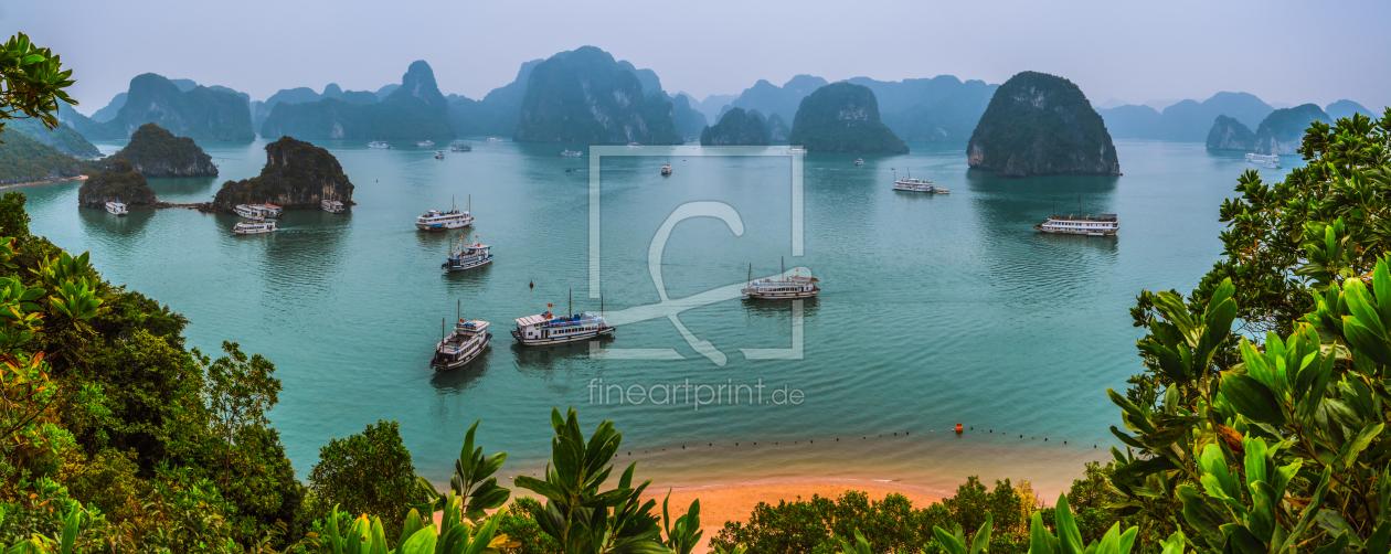 vietnam halong bay panorama als leinwand von jea. Black Bedroom Furniture Sets. Home Design Ideas