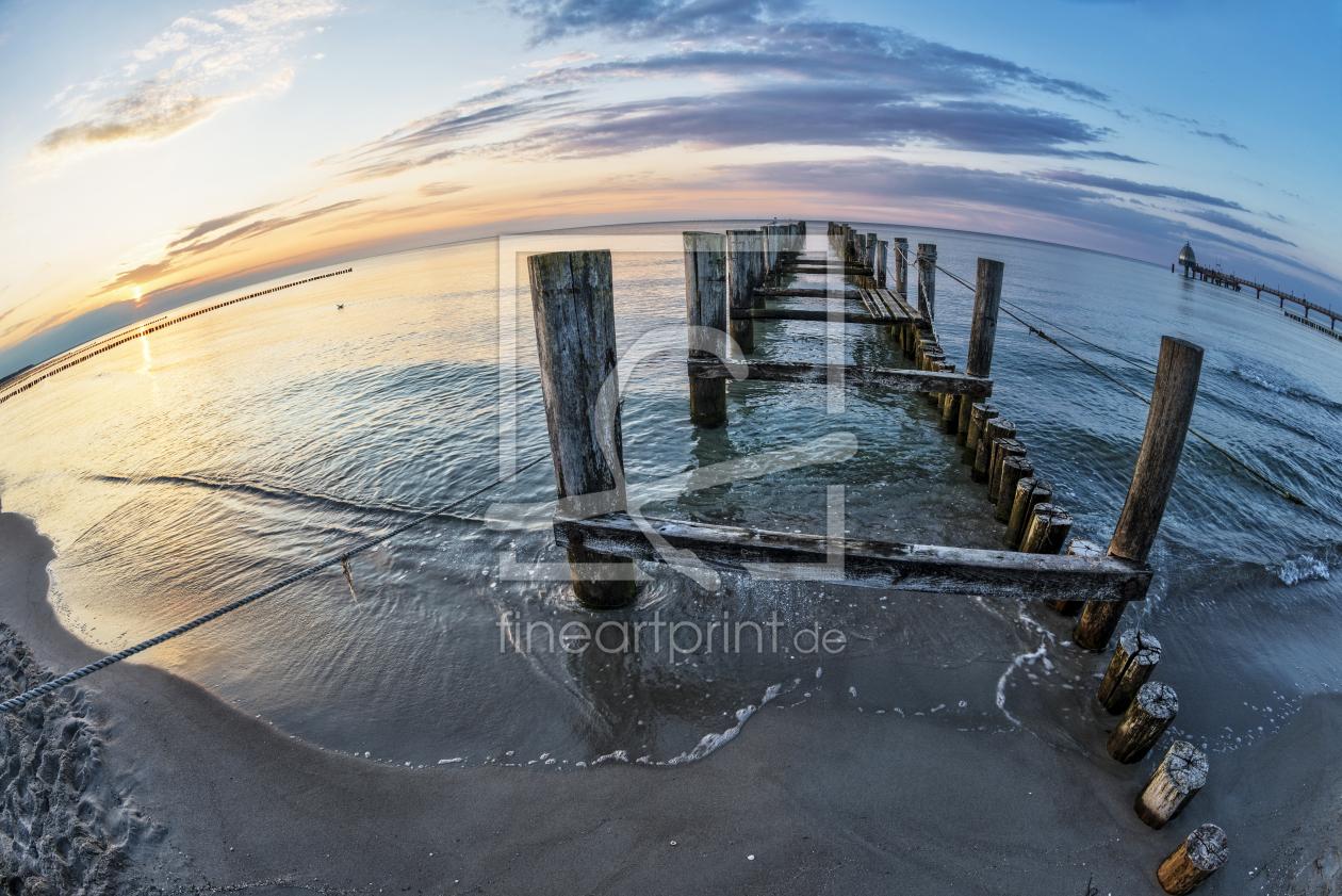 Buhne am strand der ostsee als leinwand von reichde - Ostsee bilder auf leinwand ...