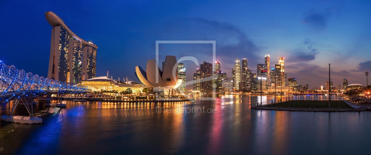 singapur skyline panorama als leinwand von jean cl. Black Bedroom Furniture Sets. Home Design Ideas
