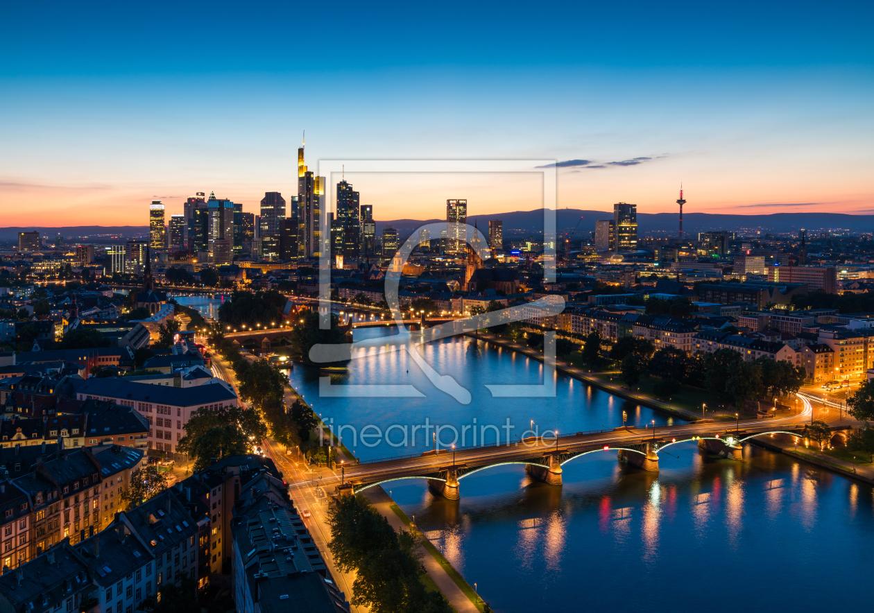 frankfurt am main skyline panorama als leinwand von. Black Bedroom Furniture Sets. Home Design Ideas